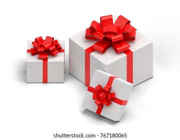3d realistic set of colorful gift boxes with bows and ribbons.