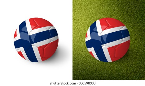 3d realistic soccer ball with the flag of Norway on it isolated on white background and on green soccer field. See whole set for other countries.