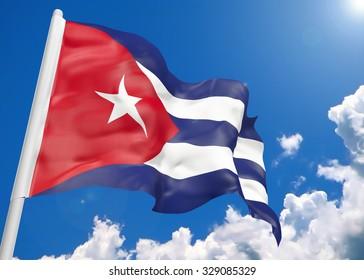 3D realistic waving flag of Cuba