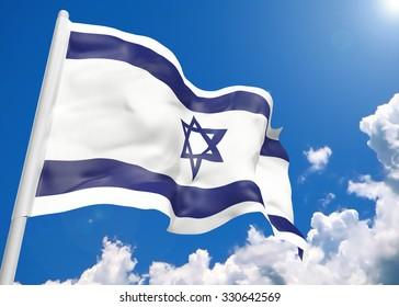 3D realistic waving flag of Israel