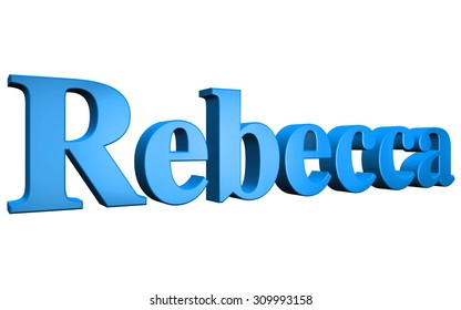 3D Rebecca text on white background
