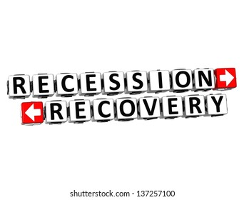 3D Recession Recovery Button Click Here Block Text over white background