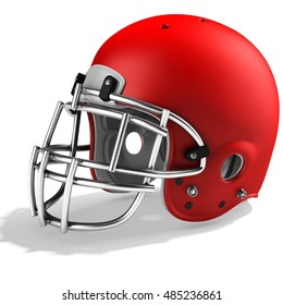 3d Red American football helmet on a white background