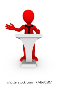 3d red businessman speaking from tribune