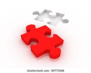 3d red colored proper puzzle part