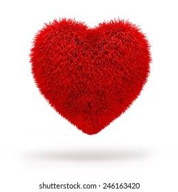 3d red fluffy heart,