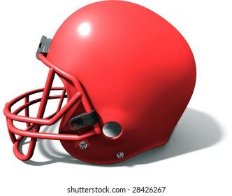 3d red football helmet on white background