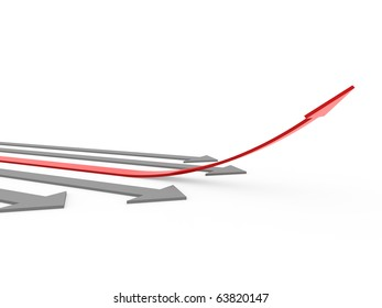 3d red gray arrow high isolated on white background