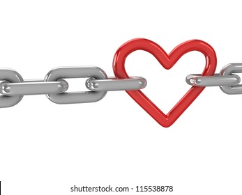 3d red heart with chains