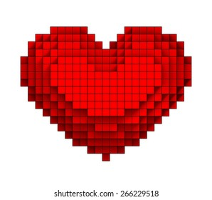 3D Red heart volumetric pixel icon, isolated