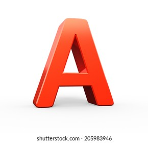 3D red letter A isolated white background