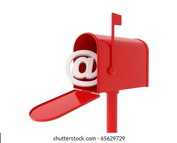 3d red mailbox with e-mail logo inside