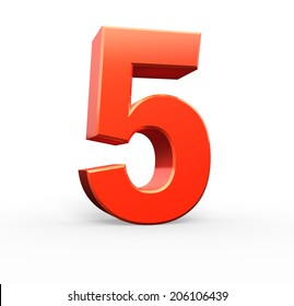 3d red number collection - 5