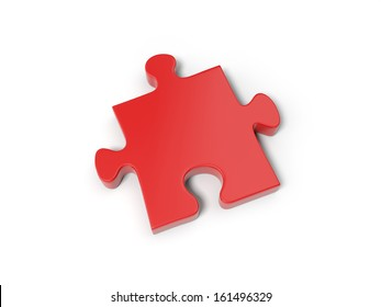 3d red puzzle piece isolated on white background