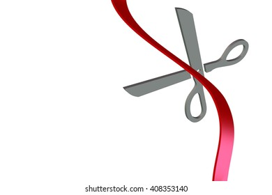 3D Red ribbon and scissors illustration