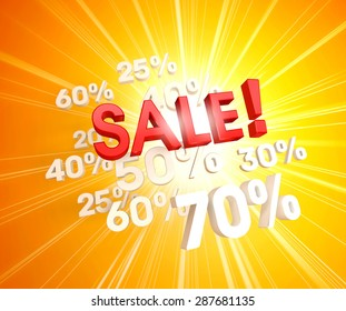 3D red sale letters upon white percent numbers and sunlight