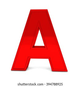 3d red shiny metal alphabet letter A frame isolated on white background