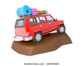3d red SUV adventure with roof rack on rock