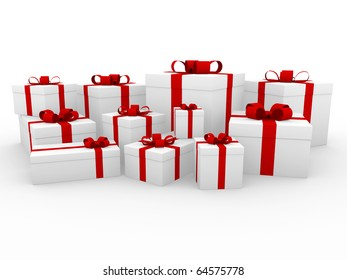3d red white gift box isolated on white background