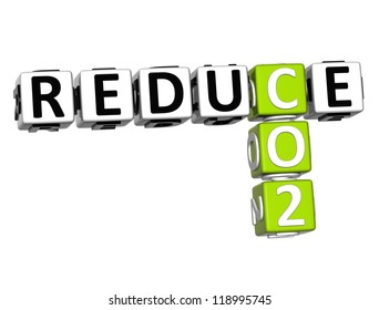 3D Reduce CO2 Crossword on white background
