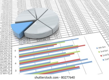 3d reflective pie chart on the background of spreadsheet