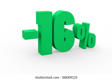 3d render 16 percent discount on a white background.
