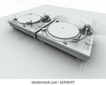 3D render of 2 DJ turntables in with sketched drafting look