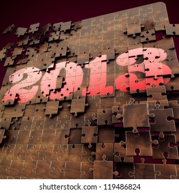 3D render 2013 year puzzle, Red, Gold and Wood texture Design with Dark Red Background
