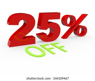 3d render 25 percent off on a white background.
