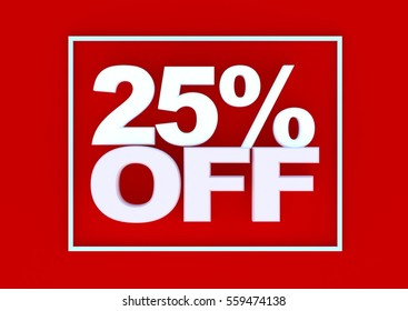 3d render of 25 percent off red background