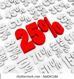 3d render 25 percent with other discount numbers on a white background.