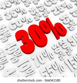 3d render 30 percent with other discount numbers on a white background.