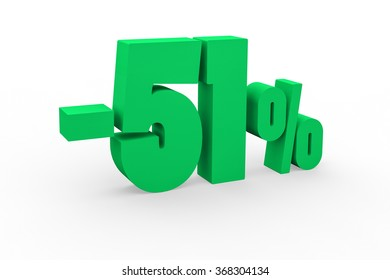 3d render 51 percent discount on a white background.