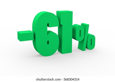 3d render 61 percent discount on a white background.