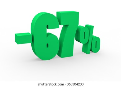 3d render 67 percent discount on a white background.