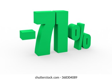 3d render 71 percent discount on a white background.