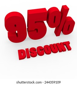 3d render 95 percent off on a white background.