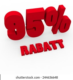 3d render 95 percent off with the word Rabatt (Discount in German) on a white background.