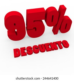 3d render 95 percent off with the word Descuento (Discount in Spanish) on a white background.