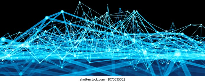 3d render abstract background. Digital tech concept illustration with array structure. Lines and spheres forms a complex connected structure.