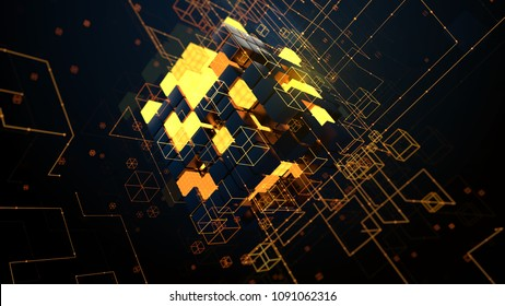 3d render abstract background. Digital technology concept. Random cubes with bright segments symbolize data block.