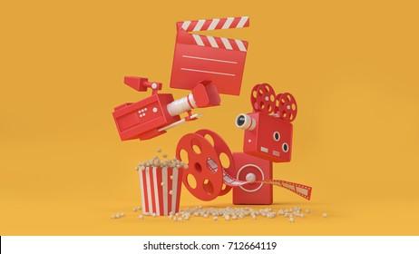 3d render abstract background of movie-cinema element movie,cinema,entertainment concept