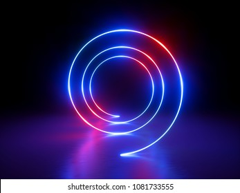 3d render, abstract background, neon lights, glowing spiral tunnel, round lines, circles, red blue spectrum, vibrant colors, laser show