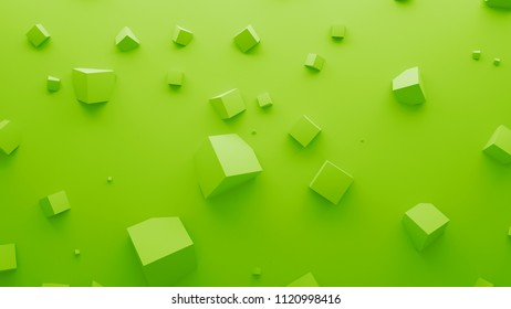 3d render abstract background. Simple plane with geometry shapes that bounds from surface. Light gamma and shadows from top light.