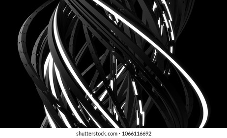 3d render abstract background. Technology concept. Random rectangular line are twisted. Glow elements.