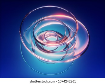 3d render, abstract blue background, twisted glass shape, loop, helix, vortex, highlight reflection, isolated design element