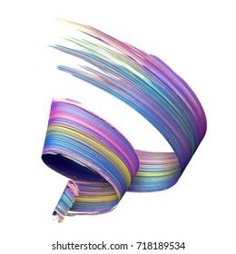 3d render, abstract brush stroke, paint splash, smear, splatter, colorful curl, artistic spiral, vivid ribbon, tape, clip art isolated on white background