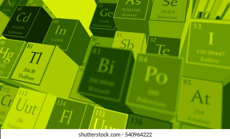 3d render abstract chemical background. Periodic table of elements. Mendeleev`s table fragment.