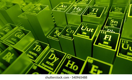 3d render abstract chemical background. Periodic table of elements. Mendeleev`s table fragment. Metal material.