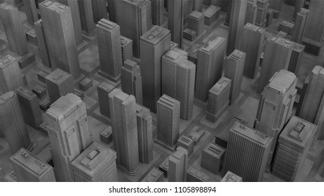 3d render abstract city piece made of wood material. Skyscrapers and low building architecture buldings.
